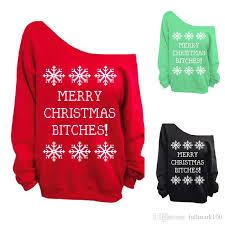 merry bitches sweater fashion shoulder warm fleece sweatshirt merry