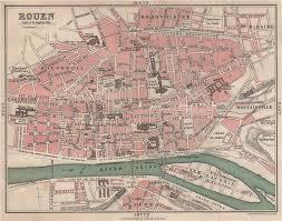 map of rouen rouen antique town city plan de la ville seine maritime 1913