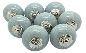grey crackle round ceramic door knobs vintage shabby chic cupboard