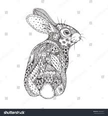 rabbit ethnic floral doodle pattern coloring stock vector
