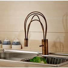 kitchen faucet brass handle antique brass finish deck mount led kitchen faucet