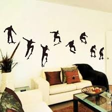 Home Wallpaper Decor by Skateboard Sports Cool Life Simple Black Diy Wall Sticke Stickers