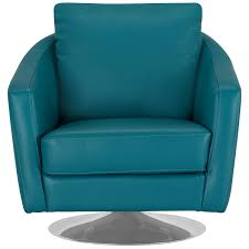 Swivel Club Chair Leather City Furniture Luca Teal Leather Swivel Accent Chair