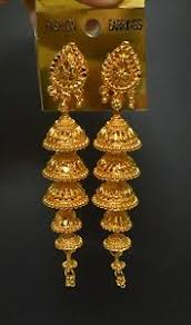 gold earrings for wedding south indian gold plated 5 step jhumka jhumki earrings