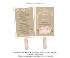 fan program template rustic pink wedding program fan template wedding program