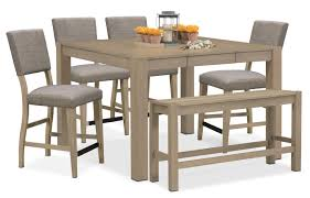 Dining Room Sets 4 Chairs by Tribeca Counter Height Table 4 Upholstered Side Chairs And Bench