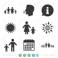 large family with children icon parents and symbols one