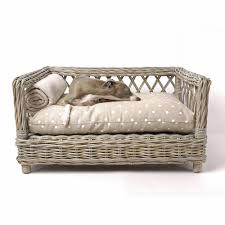 raised rattan dog bed with dotty taupe mattress dog u0026 cat beds