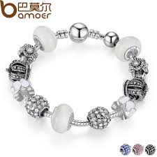 silver charm bead bracelet images Bamoer silver charm bracelet bangle with royal crown charm and jpg