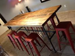 Reclaimed Wood Bar Table Reclaimed White Oak Threshing Floor Table With Gas Pipe Base By