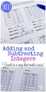 add subtract integers worksheet koogra