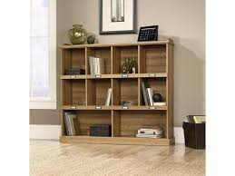 sauder barrister lane bookcase with cubbyhole storage and metal
