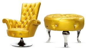 Yellow Leather Sofa Bertz Yellow Leather Furniture Screams Bling With Swarovski
