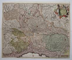 New York Relief Map by 17th Century Antique Baroque Map Of North Italy Including Parma