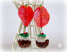 polymer clay christmas pudding earrings by glitteramacrafts on