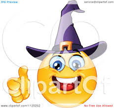 cartoon of a happy trick or treating halloween in a witch