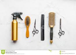 hair cutting preparation with hairdresser tools on desk background
