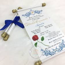 beauty and the beast wedding invitations beauty and the beast scroll invitation birthday wedding
