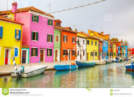Painted Houses Brightly Painted Houses At The Burano Canal Editorial Photography