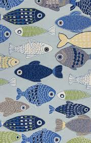Fish Area Rug Light Blue Sea Of Fish Hooked Area Rug