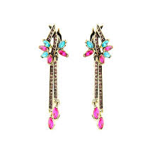 clip on dangle earrings wholesale fashion hot pink flower statement clip on dangle