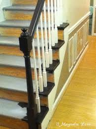 Best Paint For Stair Banisters Stair Redo With Painted Treads And Beadboard Risers 11 Magnolia Lane