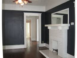 black wall paint decoration in modern home living room design idea