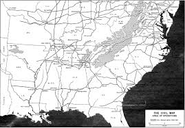 1861 Map Of The United States by The American Civil War Area Of Operations Map 1861 1865 Full Size
