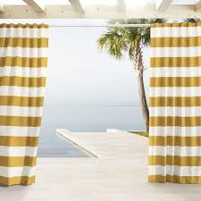 Yellow Striped Curtains And White Outdoor Stripe Curtains