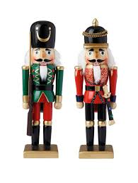 Nutcracker Themed Christmas Decorations by Wooden Nutcracker Soldiers Christmas Decorations 2 Pack