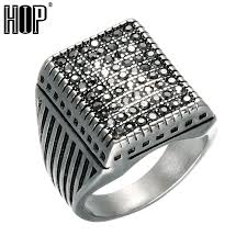 crystal pave rings images Hip punk black crystal pave square mens signet rings gold silver jpg