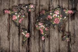 wood flowers mapamundi canvas wall by diego tirigall icanvas