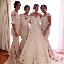 dusty wedding dress dusty mermaid bridesmaid dresses lace sleeves