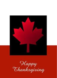 happy thanksgiving canada with canadian flag and turkey greeting