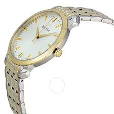 bulova ladies bracelet images Bulova silver dial two tone stainless steel bracelet men 39 s watch jpg