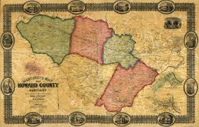 United States Map 1860 by Old County Map Howard Maryland Landowner 1860