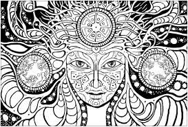 psychedelic woman psychedelic coloring pages for adults