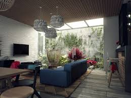 living room kicky living room with skylight design and brown