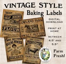 Kitchen Canister Labels Vintage Kitchen Baking Labels Prim Primitive Digital Download
