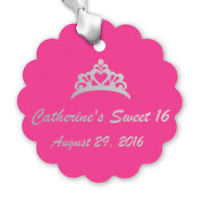 sweet 16 scalloped personalized hang tags scalloped shaped