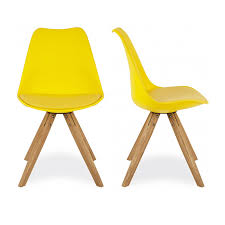 charles eames x2 style warm yellow dining chair with pyramid style