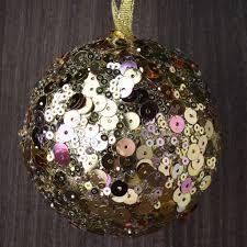 set of 12 gold sequin ornaments robertson