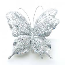 Silver Glitter Christmas Tree Decorations by Silver Glitter Butterfly Christmas Tree Decoration