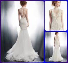 satin slip hand beaded tulle overlay wedding gown art deco keyhole
