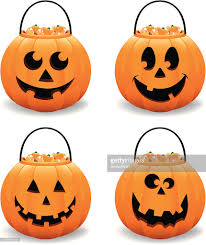 halloween pumpkin jack o lantern candy bucket vector illustration