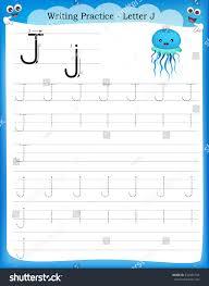 writing practice letter j printable worksheet stock vector