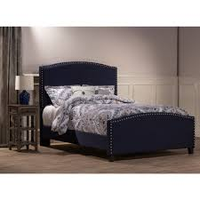 kerstein fabric upholstered bed in navy linen humble abode