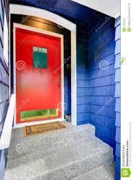 Blue House With Red Door Entrance Porch With Bright Red Door Stock Photo Image 47645762