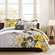 Yellow Bedding Set Contemporary Bedroom With Black White Gray Large Floral Bedding