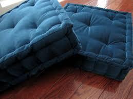 velvet seat cushion or floor pillow blue tufted custom cushion